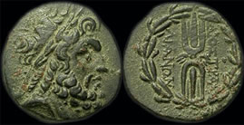 Coins from Thyatira (2nd-1st C BC) with head of Zeus and winged thunderbolt within a wreath